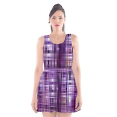 Purple Wave Abstract Background Shades Of Purple Tightly Woven Scoop Neck Skater Dress