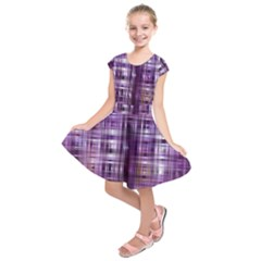 Purple Wave Abstract Background Shades Of Purple Tightly Woven Kids  Short Sleeve Dress