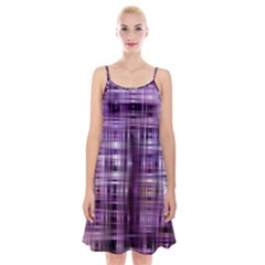Purple Wave Abstract Background Shades Of Purple Tightly Woven Spaghetti Strap Velvet Dress