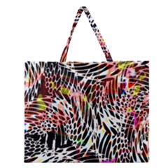Abstract Composition Digital Processing Zipper Large Tote Bag