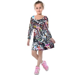 Abstract Composition Digital Processing Kids  Long Sleeve Velvet Dress
