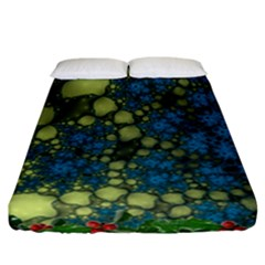 Holly Frame With Stone Fractal Background Fitted Sheet (california King Size) by Simbadda