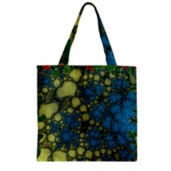 Holly Frame With Stone Fractal Background Zipper Grocery Tote Bag