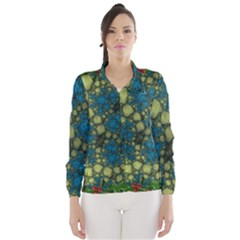 Holly Frame With Stone Fractal Background Wind Breaker (women)
