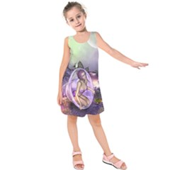 Wonderful Fairy In The Wonderland , Colorful Landscape Kids  Sleeveless Dress by FantasyWorld7
