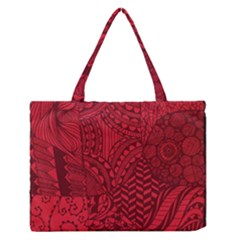 Deep Red Background Abstract Medium Zipper Tote Bag by Simbadda