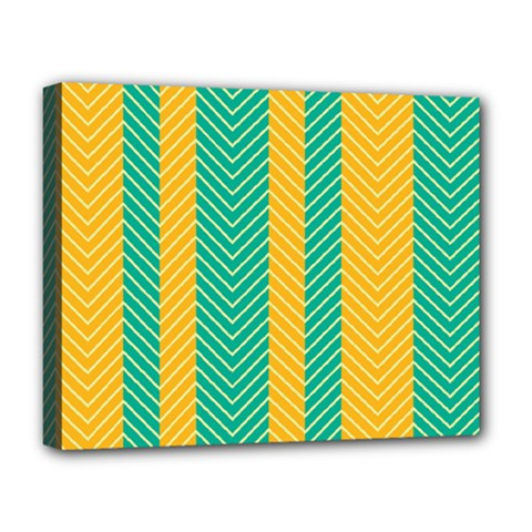 Green And Orange Herringbone Wallpaper Pattern Background Deluxe Canvas 20  X 16   by Simbadda