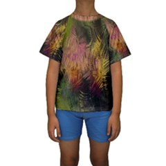 Abstract Brush Strokes In A Floral Pattern  Kids  Short Sleeve Swimwear by Simbadda