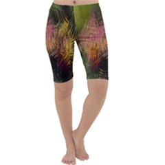 Abstract Brush Strokes In A Floral Pattern  Cropped Leggings  by Simbadda