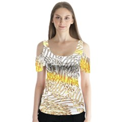 Abstract Composition Pattern Butterfly Sleeve Cutout Tee  by Simbadda