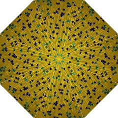 Abstract Gold Background With Blue Stars Folding Umbrellas by Simbadda