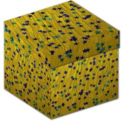 Abstract Gold Background With Blue Stars Storage Stool 12