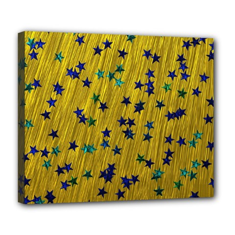 Abstract Gold Background With Blue Stars Deluxe Canvas 24  X 20   by Simbadda