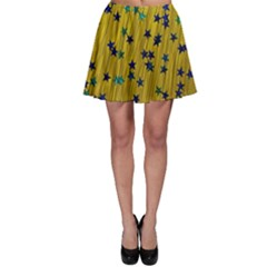 Abstract Gold Background With Blue Stars Skater Skirt by Simbadda