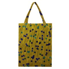 Abstract Gold Background With Blue Stars Classic Tote Bag by Simbadda
