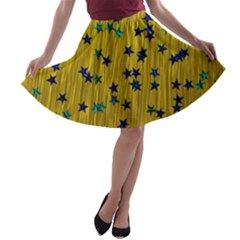 Abstract Gold Background With Blue Stars A Line Skater Skirt by Simbadda