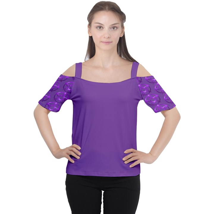 Mystic Purple Pagan Pentacle Wiccan Cold Shoulder Tee