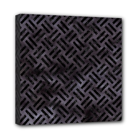 Woven2 Black Marble & Black Watercolor (r) Mini Canvas 8  X 8  (stretched) by trendistuff