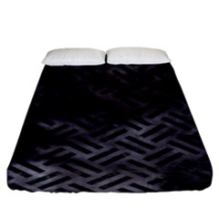 Woven2 Black Marble & Black Watercolor (r) Fitted Sheet (king Size) by trendistuff