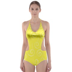 Pattern Cut Out One Piece Swimsuit