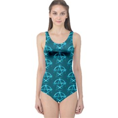 Mystic Teal Pagan Pentacle Wiccan One Piece Swimsuit by cheekywitch