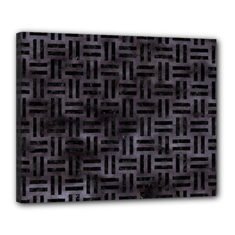 Woven1 Black Marble & Black Watercolor (r) Canvas 20  X 16  (stretched) by trendistuff