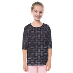Woven1 Black Marble & Black Watercolor Kids  Quarter Sleeve Raglan Tee