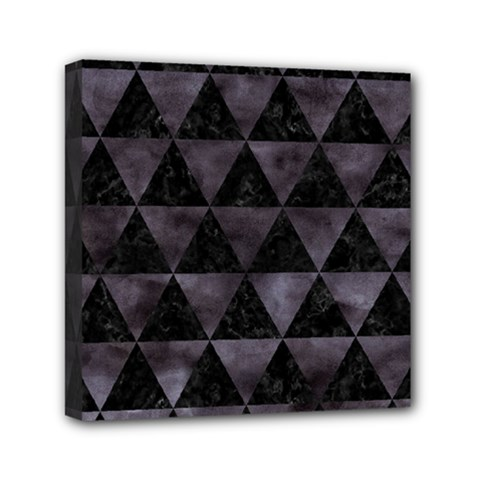 Triangle3 Black Marble & Black Watercolor Mini Canvas 6  X 6  (stretched) by trendistuff