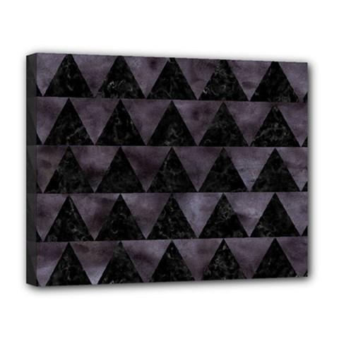 Triangle2 Black Marble & Black Watercolor Canvas 14  X 11  (stretched) by trendistuff
