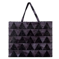 Triangle2 Black Marble & Black Watercolor Zipper Large Tote Bag by trendistuff