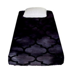 Tile1 Black Marble & Black Watercolor (r) Fitted Sheet (single Size) by trendistuff