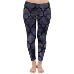 Tile1 Black Marble & Black Watercolor (r) Classic Winter Leggings by trendistuff