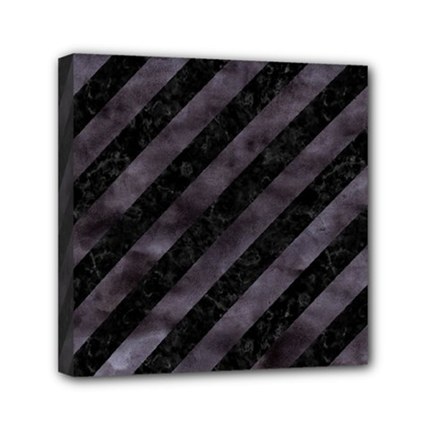 Stripes3 Black Marble & Black Watercolor Mini Canvas 6  X 6  (stretched) by trendistuff