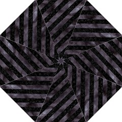 Stripes3 Black Marble & Black Watercolor Folding Umbrella