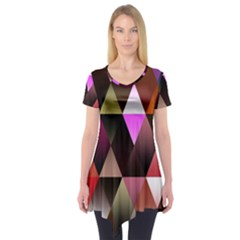 Triangles Abstract Triangle Background Pattern Short Sleeve Tunic  by Simbadda