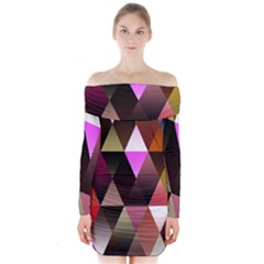 Triangles Abstract Triangle Background Pattern Long Sleeve Off Shoulder Dress