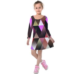 Triangles Abstract Triangle Background Pattern Kids  Long Sleeve Velvet Dress