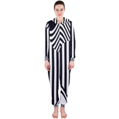 Stripe Abstract Stripped Geometric Background Hooded Jumpsuit (ladies)