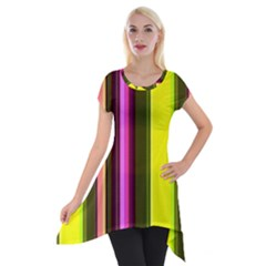 Stripes Abstract Background Pattern Short Sleeve Side Drop Tunic
