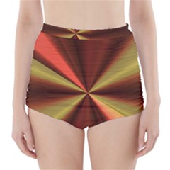 Copper Beams Abstract Background Pattern High Waisted Bikini Bottoms by Simbadda