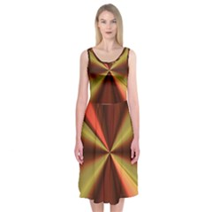 Copper Beams Abstract Background Pattern Midi Sleeveless Dress