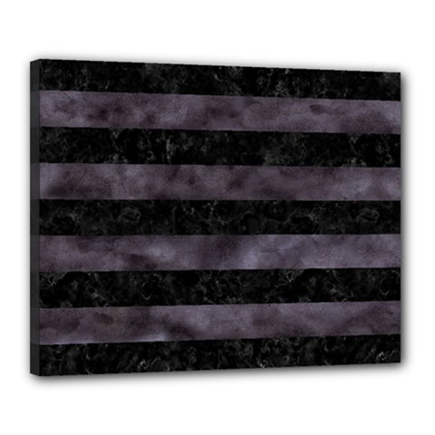 Stripes2 Black Marble & Black Watercolor Canvas 20  X 16  (stretched)