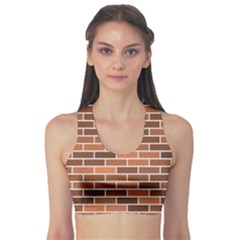 Brick Brown Line Texture Sports Bra by Mariart