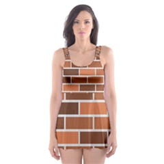Brick Brown Line Texture Skater Dress Swimsuit by Mariart