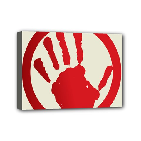 Bloody Handprint Stop Emob Sign Red Circle Mini Canvas 7  X 5  by Mariart