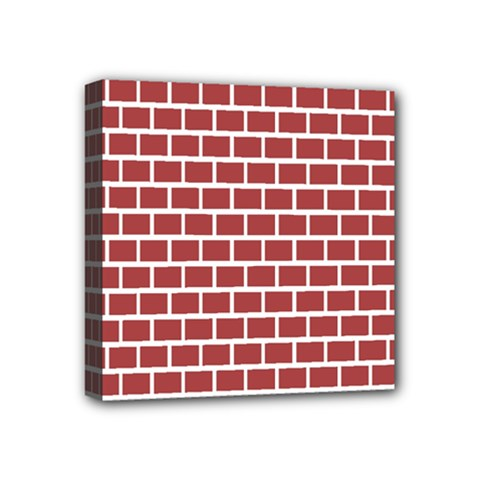 Brick Line Red White Mini Canvas 4  X 4
