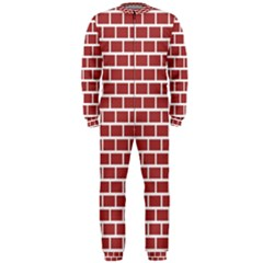 Brick Line Red White Onepiece Jumpsuit (men)  by Mariart