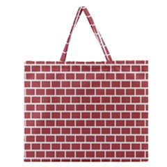 Brick Line Red White Zipper Large Tote Bag by Mariart