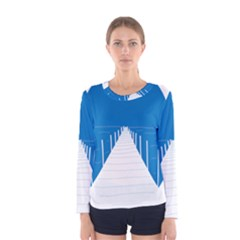 Bridge Sea Beack Blue White Women s Long Sleeve Tee by Mariart