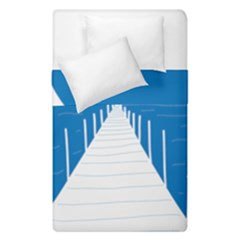 Bridge Sea Beack Blue White Duvet Cover Double Side (single Size) by Mariart